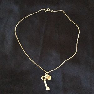 "Jewelry - Silver key and heart 18"" necklace"